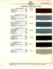 1946 LINCOLN & LINCOLN CONTINENTAL 46 PAINT CHIPS ACME 6