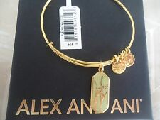 Alex and Ani WARRIOR'S WILL GLADIOLUS Charm Bangle Yellow Gold W/Tag Card & Box