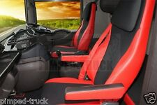 RENAULT MAGNUM 2002-2008 Red ECO LEATHER SEAT COVERS