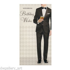 Stylish Mens Birthday Card. Suit and Black Bow Tie Design. Size:23cm x 12cm-BC05