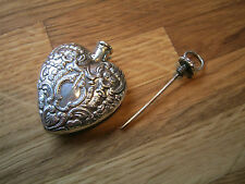 Gorgeous Sterling Silver Heart Shaped Chatelaine Scent Perfume Snuff Bottle