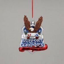 """KSA ~ GLASS """"SUPPORT OUR TROOPS"""" Plaque With Eagle Ornament ~ Patriotic!!!!!!"""