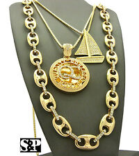 Hip Hop Iced out Sail boat, QC Pendant w/ Box Chain & Guci Chain 3 Necklace Set