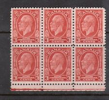 Canada #192i XF/NH Block Of Six Top Center Stamp Has Broken E Variety