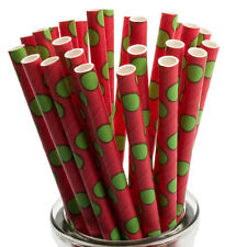 Paper Drinking Straws x25 Green Polka Dot On Red Retro Cocktail Party Christmas