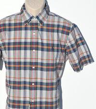 New RALPH LAUREN Shirt BLEEDING MADRAS Button Down Blue Medium Short Sleeve $85
