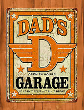 "TIN-UPS TIN SIGN ""Dad's Garage"" Father Vintage Car Wall Decor"