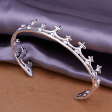 Women's Unisex 925 Sterling Silver Bracelet Bangle Crown Adjustable Size L51