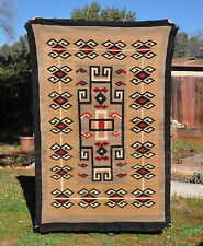 LARGE VINTAGE NAVAJO INDIAN RUG - FANTASTIC PATTERN - BROWNS, TANS, RED, BLACK