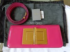 $3650 NWT TOM FORD NATALIA PINK PATENT LEATHER TURNLOCK CLUTCH BAG SHOULDER BAG