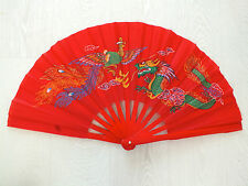 CHINESE XL BAMBOO RED DRAGON PHOENIX HAND FAN KUNG FU JAPANESE TAI CHI TAIJI a5