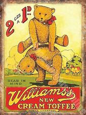 Vintage Food, 98, Williams's Toffee, Teddy Bear Old Shop, Large Metal/Tin Sign