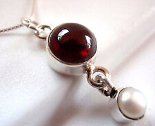 Garnet and Dangling Freshwater Pearl  Necklace 925 Sterling Silver New