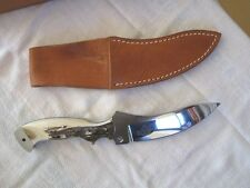 """Tom Barminski ~ Extremily Scarce 10.5"""" Red Collector Kel-Welco Stag Knife & Case"""