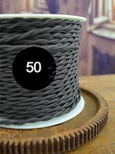 Charcoal 50ft  Cloth Covered Twisted Wire - Lamp Cord - Antique Wire - Vintage