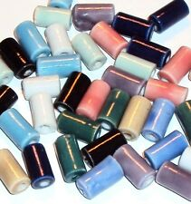 CPC128f Assorted Mixed Color 11x6mm Round Tube Porcelain Beads 40/pkg