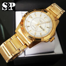 Men's Citizen Gold PT Stainless Steel Analog Date & Day Round Metal Band Watch