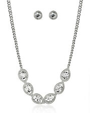 Lux Accessories Silver Tone Crystal Teardrop Necklace Earrings Gift Jewelry Set