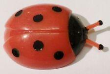 broche bijou vintage fantaisie coccinelle en relief rouge a pois noir A07