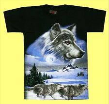 T-Shirt Wolf Gr. S 110*116, Wölfe Fan Rudel, Wolfs Kopf, Husky Indianer Natur