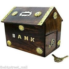 Wooden Antique Indian Hut Handicraft Coin Box Piggy Money Bank Birthday Gift