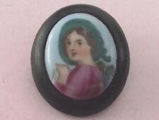 ANTIQUE PRESSED HORN JET PORTRAIT BROOCH PIN 1880