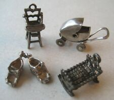 40's VINTAGE Sterling BABY CHARM LOT Silver Highchair~Crib~Booties~Carriage