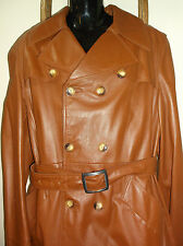 Men's~BROWN~Long LEATHER~Double Breasted~Dress TRENCH COAT~Small or Medium~NICE!