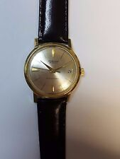 RAMONA 25 JEWELS SUPER AUTOMATIC MEN'S 14K GOLD SWISS WRIST WATCH. LEATHER BAND.