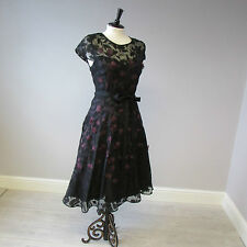 PHASE EIGHT Suri DRESS-taglia 16-Ribes Nero / Nero-Tulle Gon na