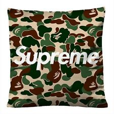 SUPREME BAPE CAMO Decorative Throw Pillow Case Cushion 20x20 Zippered Cover