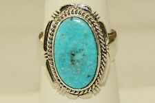 Signed Navajo Made Sterling Silver Kingman Mine Turquoise Ring