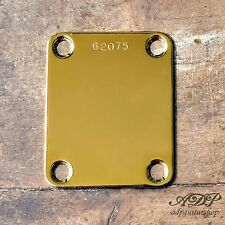 PLAQUE Fixation MANCHE NECK PLATE pour Strat Tele, P-J-Bass SERIAL NUMBER GOLD