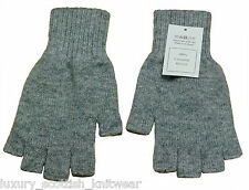 Johnstons of Elgin 100% 2ply Cashmere Grey Fingerless Gloves Made in Scotland