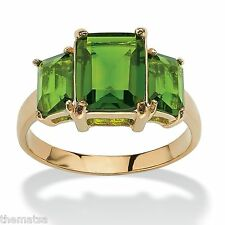 TRIPLE BIRTHSTONE PERIDOT 18K GOLD GP AUGUST RING SIZE  5 6 7 8 9 10