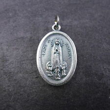 Our Lady of Fatima silver colour metal medal for rosary beads pendant new 2cm