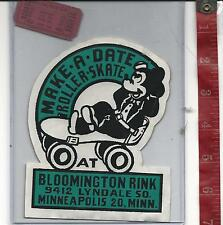 vintage lot roller rink decal Bloomington Minneapolis Mn. & ticket FREE SHIPPING