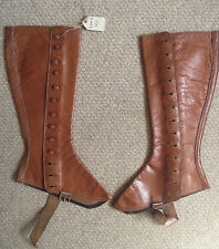 Light Brown  Vintage Leather Women's Spats Leg Gaiters Size 3