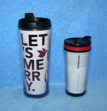 STARBUCKS COFFEE PAIR SET OF 2 TRAVEL TUMBLERS CREATE YOUR OWN & LET'S MERRY