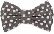 Dog Bow Tie Slip On Polka Dots Small Gray Elastic Bands Slips Over Collar New