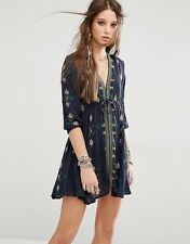 Free People Star Gazer Embroidered Flare Tie String Blue Dress L 12 14