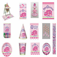 1ST FIRST BIRTHDAY PARTY, BABY GIRL, PARTYWARE, DECORATIONS, TABLEWARE, PINK