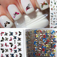 24 Sheets 3D Colorful Butterfly Nail Art Transfer Stickers Tips Decal Deco WB