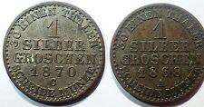PIECES MONNAIES - Lot 2 pieces 1 Groschen Allemagne Prusse argent (A29)
