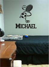 Sports Gear & Name Wall Sticker Vinyl Decal Soccer Football Baseball Tennis