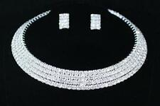 Silver Plated Rhinestone Choker Necklace and Earrings Set