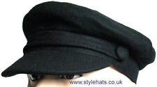 Captain Hat Black Wool Vintage Retro Style Fiddler 1960s Breton Cap G&H S 54 cm