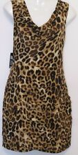 NWT EXPRESS Leopard Print Cowlneck V-Back Pleated Fold Sleeveless Dress Sz 10