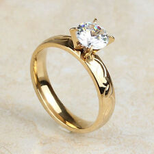 Women's Stainless Steel Gold Plated 4MM Cut AAA CZ Wedding Rings Band US Size 7