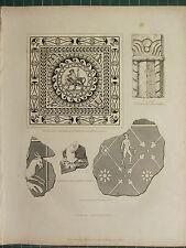 1845 Stampa ~ Romano Antichità tassellate pavimentazione Affresco Dipinto Muro